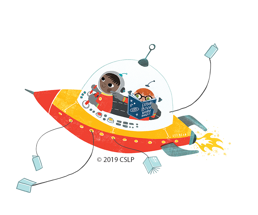 cartoon of child and robot in spaceship
